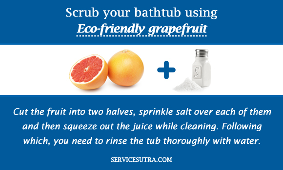 Scrub your bathtub using Eco-friendly grapefruit