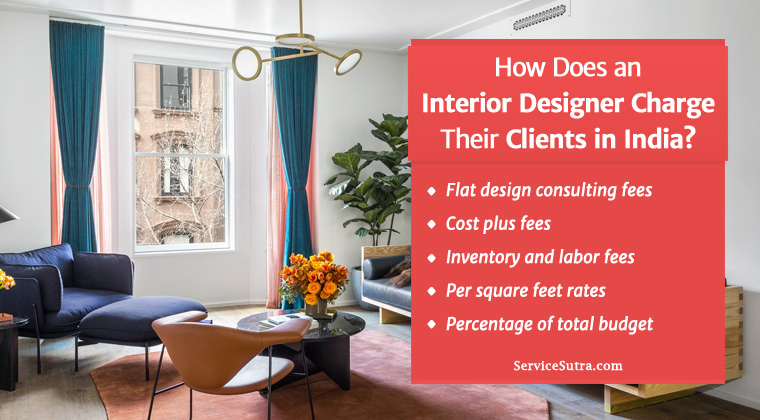 how does an interior designer charge their clients in india
