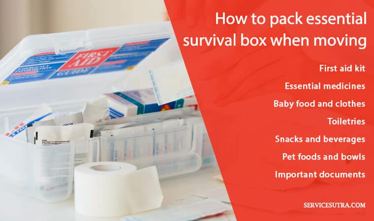 How to pack essential survival box when moving