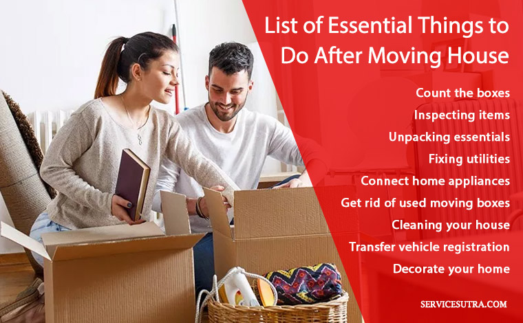 Post-move checklist of things to do after moving into a new house